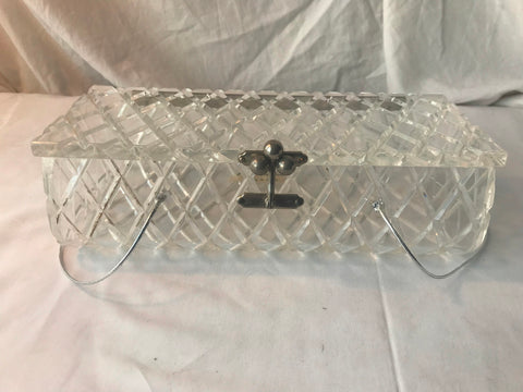 Vintage Clear Lucite Florida Handbag Made In Miami Carved Acrylic Repairs - Cabin Fever Purveyors