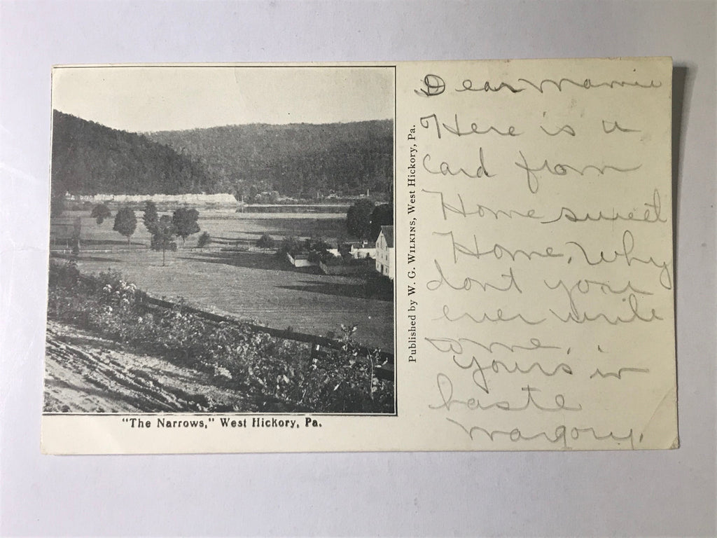 The Narrows West Hickory PA Postcard Posted RPPC 1905 - Cabin Fever Purveyors