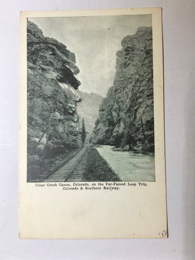 Clear Creek Canon Colorado & Southern Railway Postcard Unposted RPPC Far-Famed - Cabin Fever Purveyors