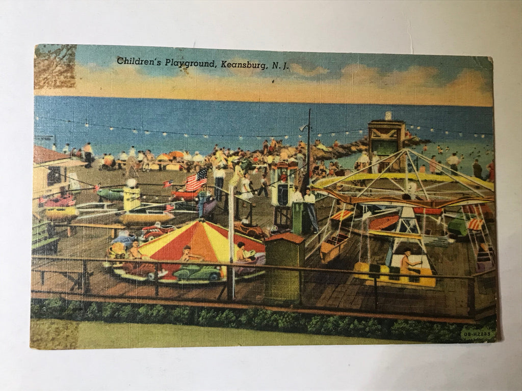 Keansburg NJ Children's Playground Postcard Posted Linen Post Card 1954 - Cabin Fever Purveyors