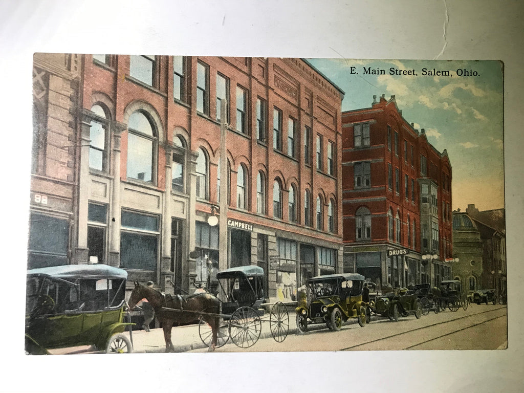 Salem Ohio E. Main Street Postcard Unposted Buggies Autos Weixelbaum - Cabin Fever Purveyors