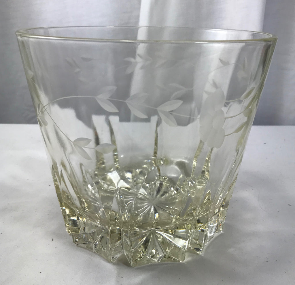"Princess House Glass Etched Crystal Ice Bucket Chiller 5 1/4"" Tall VG Wedding"