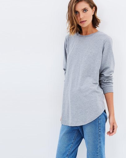 All About Eve - Jumper Longline Grey Marle