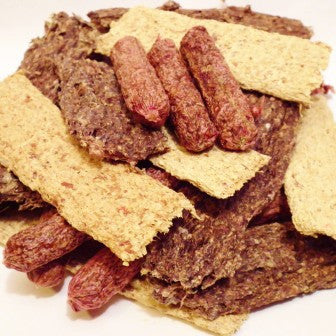 Bullwrinkles Mixed Grill dog treats made with beef, chicken, oat groats & ground oats, beets, garlic, parsley