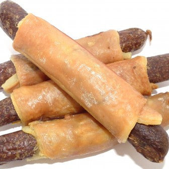 Sausage Roll dog treats made with pork