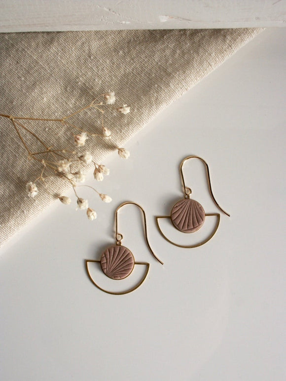 arch + circle drop earrings
