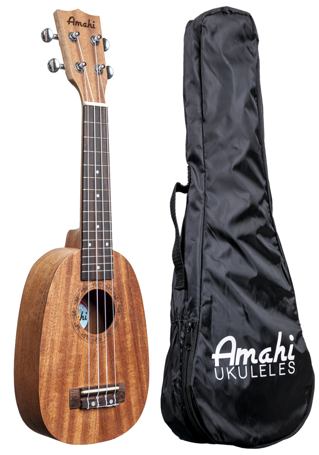 Amahi UK140W Pineapple Shaped Soprano Ukulele with Gig Bag