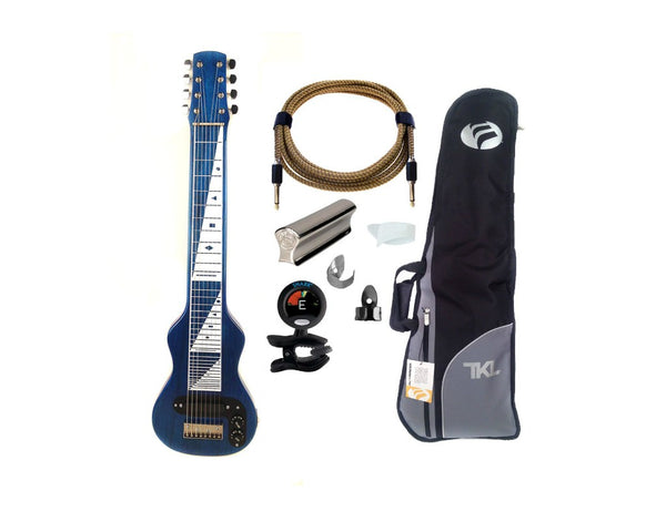 Morrell USA Pro Series 8-String Lap Steel Guitar Transparent Blue + Accessories Pack