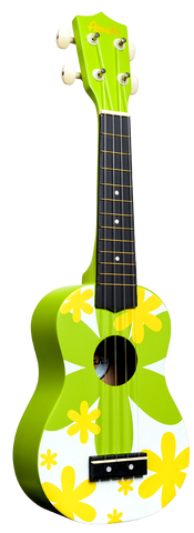 Amahi DDUK6 Soprano Ukulele with Gig Bag - Green Flower