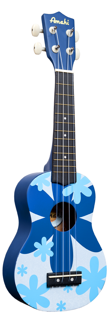 Amahi DDUK8 Soprano Ukulele with Gig Bag - Blue Flower