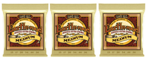 Ernie Ball 2002 Earthwood Acoustic Guitar Strings Bronze Medium 13-56 (3-Pack)
