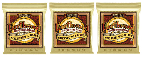 Ernie Ball 2003 Eathwood Acoustic Guitar Strings Medium-Light Bronze 12-54 (3-Pack)