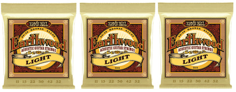 Ernie Ball 2004 Earthwood Acoustic Guitar Strings Light Bronze 11-52 (3-Pack)