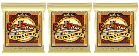 Ernie Ball 2006 Earthwood Acoustic Guitar Strings Extra Light Bronze 10-50 (3-Pack)