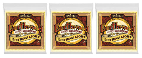 Ernie Ball 2010 Earthwood 12-String Acoustic Guitar Strings Light Bronze 9-46 (3-Pack)