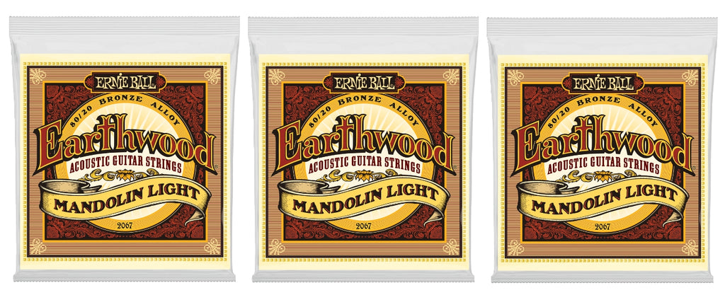 Ernie Ball 2067 Earthwood Mandolin Strings Light Bronze Loop End 9-34 (3-Pack)