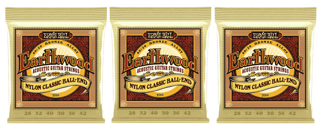 Ernie Ball 2069 Earthwood Folk Nylon Ball End Classical Guitar Strings 28-42 (3-Pack)
