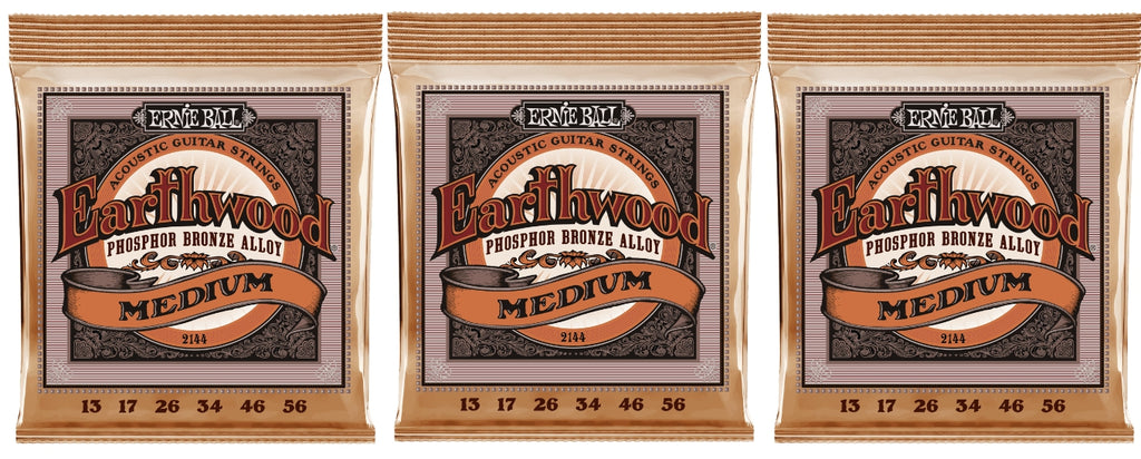 Ernie Ball 2144 Earthwood Acoustic Guitar Strings Phosphor Bronze Medium 13-56 (3-Pack)