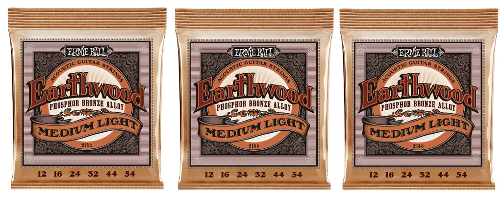 Ernie Ball 2146 Earthwood Acoustic Guitar Strings Phosphor Bronze Medium Light 12-54 (3-Pack)