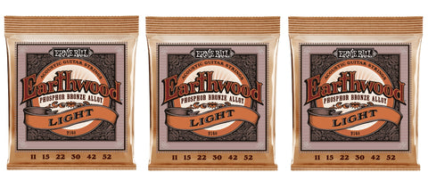 Ernie Ball 2148 Earthwood Acoustic Guitar Strings Phosphor Bronze Light 11-52 (3-Pack)