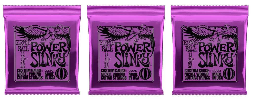 Ernie Ball 2220 Power Slinky Nickel Electric Guitar Strings 11-48 (3-Pack)