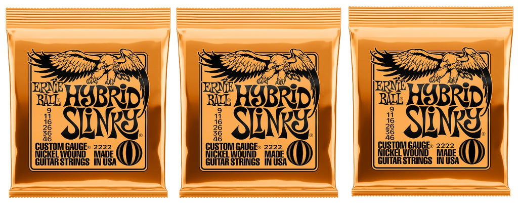 Ernie Ball 2222 Hybrid Slinky Nickel Electric Guitar Strings 9-46 (3-Pack)
