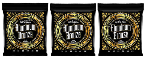 Ernie Ball 2568 Aluminum Bronze Acoustic Guitar Strings 11-52 (3 Pack)