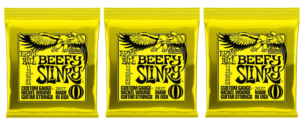 Ernie Ball 2627 Beefy Slinky Nickel Electric Guitar Strings 11-54 (3-Pack)