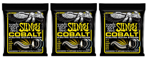 Ernie Ball 2727 Cobalt Beefy Slinky Electric Guitar Strings 11-54 (3-Pack)