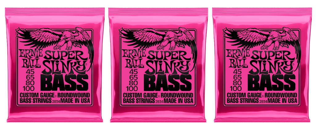 Ernie Ball 2834 Super Slinky Electric Bass Guitar Strings 45-100 (3-Pack)