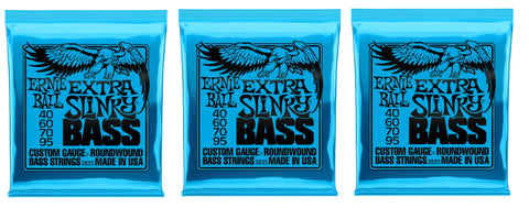 Ernie Ball 2835 Extra Slinky Electric Bass Guitar Strings 40-95 (3-Pack)