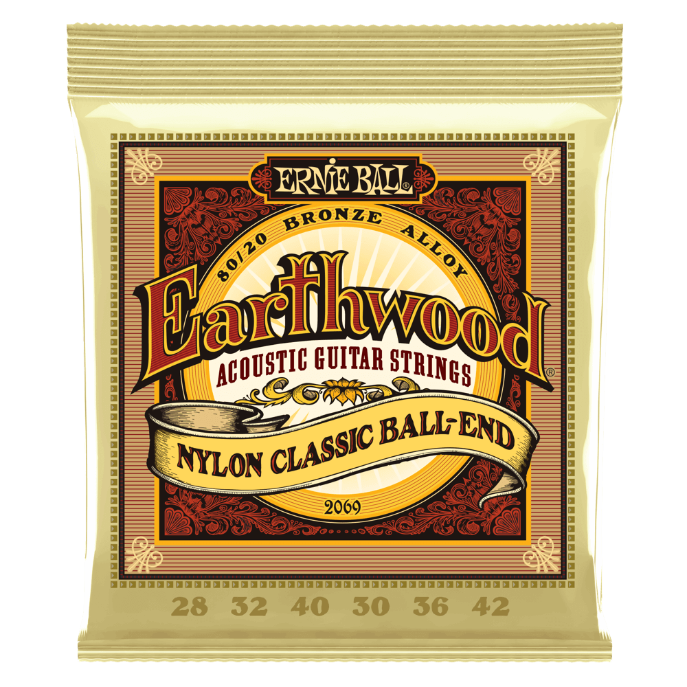 Ernie Ball 2069 Earthwood Folk Nylon Ball End Classical Guitar Strings 28-42