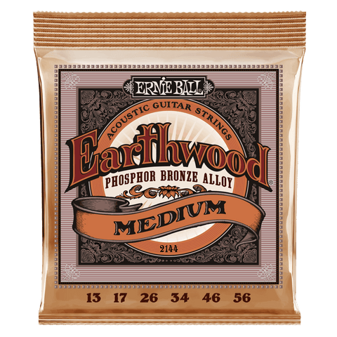 Ernie Ball 2144 Earthwood Acoustic Guitar Strings Phosphor Bronze Medium 13-56