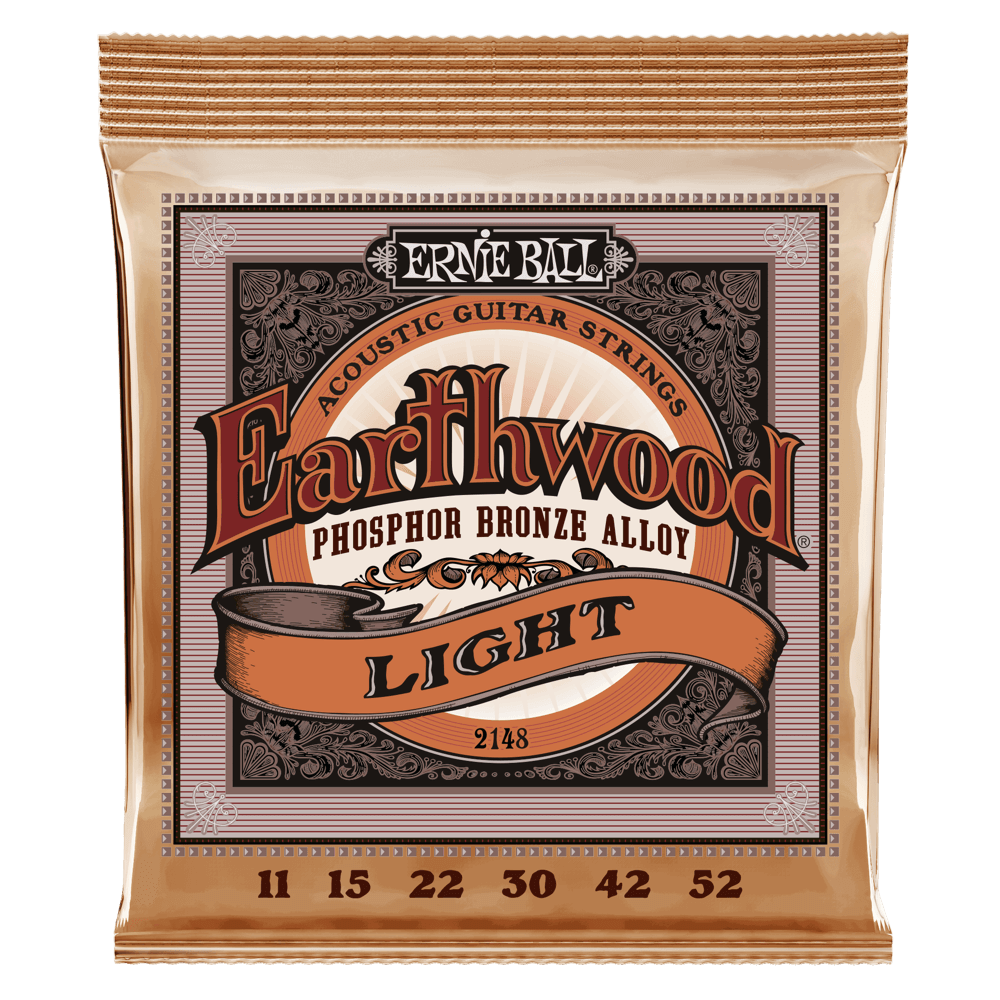 Ernie Ball 2148 Earthwood Acoustic Guitar Strings Phosphor Bronze Light 11-52