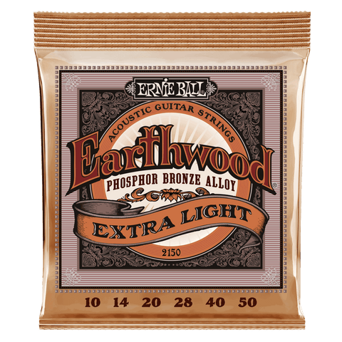 Ernie Ball 2150 Earthwood Acoustic Guitar Strings Phosphor Bronze Extra Light 10-50
