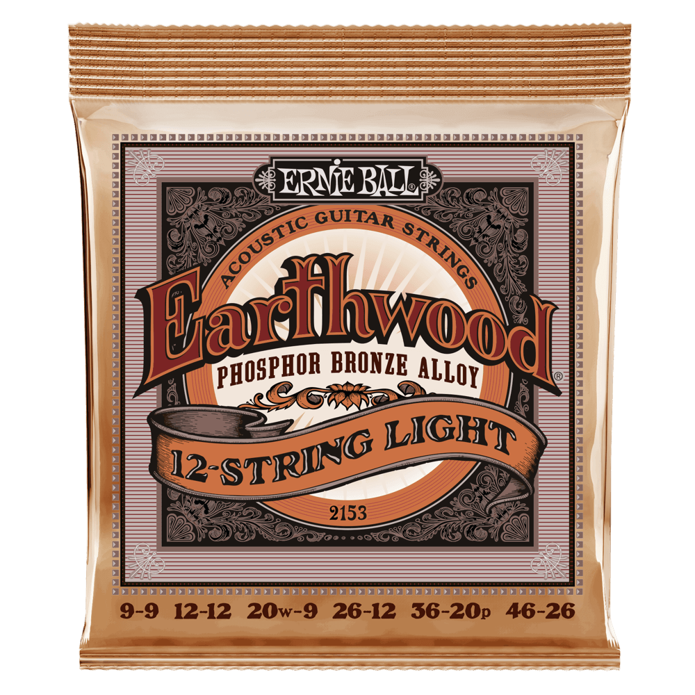 Ernie Ball 2153 Earthwood 12-String Acoustic Guitar Strings Phosphor Bronze Light 9-46