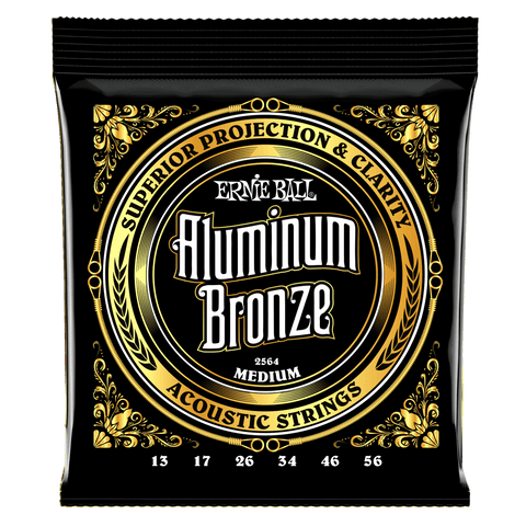 Ernie Ball 2564 Aluminum Bronze Acoustic Guitar Strings Medium 13-56