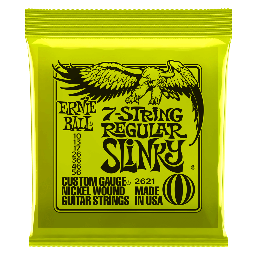 Ernie Ball 2621 7-String Regular Slinky Nickel Electric Guitar Strings 10-56