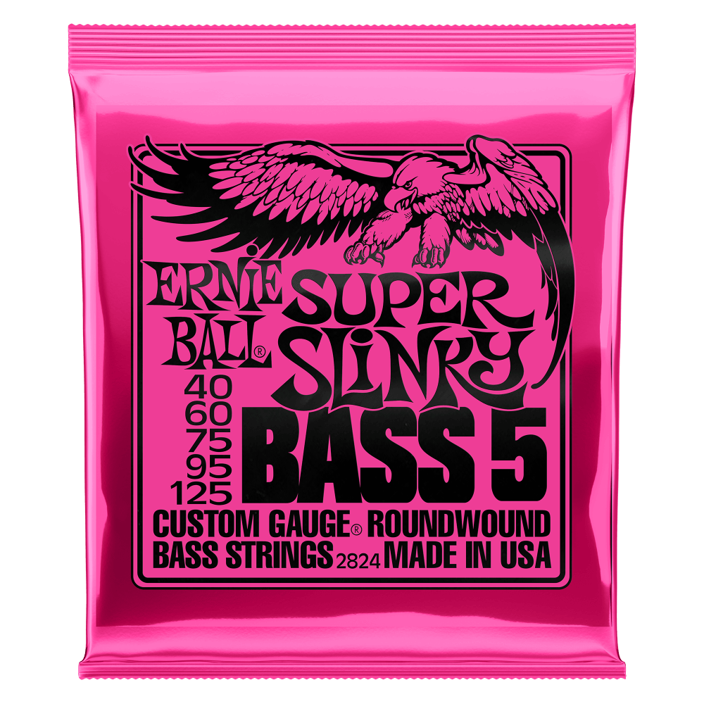 Ernie Ball 2824 Super Slinky 5-String Electric Bass Strings 40-125
