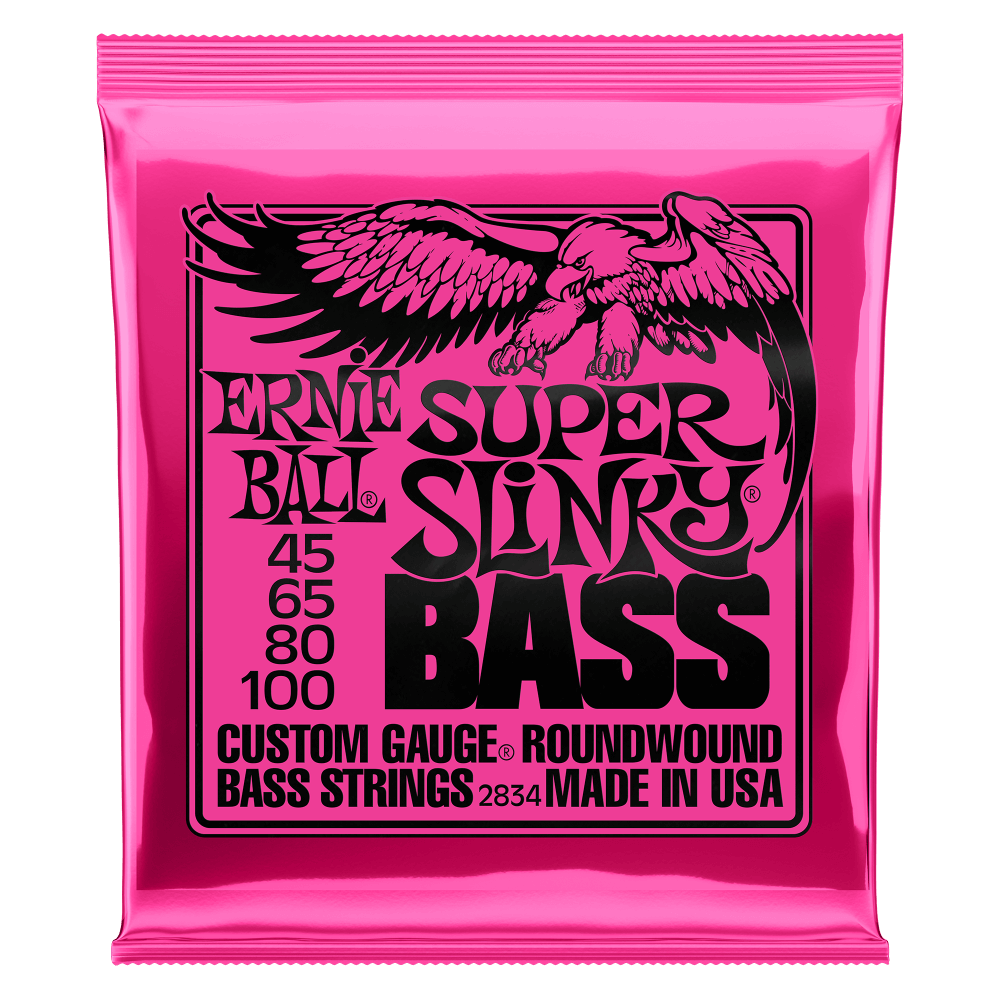 Ernie Ball 2834 Super Slinky Electric Bass Guitar Strings 45-100