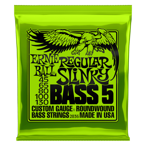 Ernie Ball 2836 Regular Slinky 5-String Electric Bass Guitar Strings 45-130