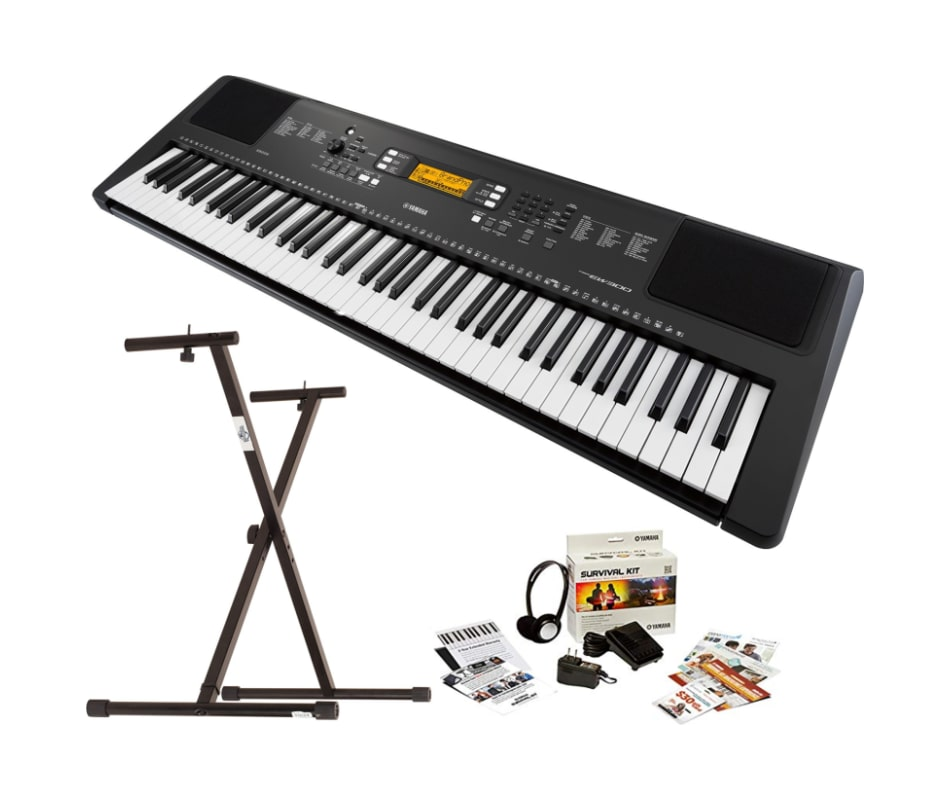 Yamaha PSR-EW300 76-Key Portable Keyboard Bundle w/ Stand and Survival Kit