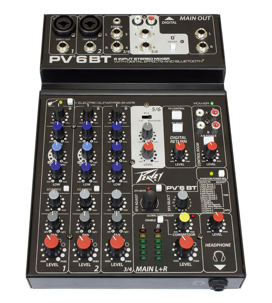 Peavey PV6BT 6-Channel Non-Powered Mixer w/ Bluetooth