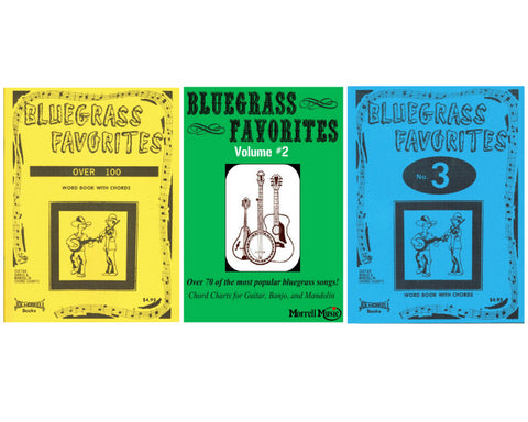 Morrell Bluegrass Favorites Song Book Pack (Vol 1, 2, 3) w/ Chord Charts for Guitar, Banjo, and Mando
