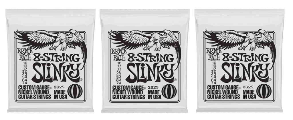 Ernie Ball 2625 8-String Slinky Nickel Electric Guitar Strings 10-74 (3-Pack)