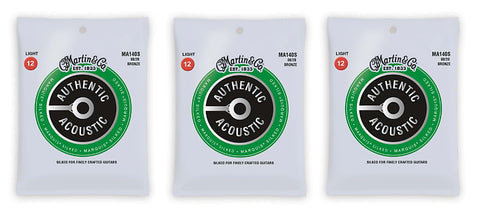Martin MA140S Marquis Silked 80/20 Bronze Authentic Acoustic Guitar Strings Light 12-54 (3 Pack)