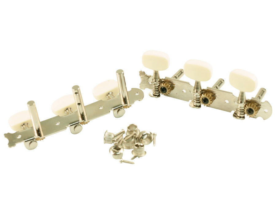 WD® STEEL STRING ELECTRIC GUITAR TUNERS 3 ON A PLATE CHROME w/ WHITE BUTTONS