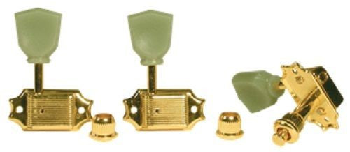 Golden Gate F-2041 Acoustic Guitar Tuner Set of 6 Gold w/ Green Keystone Button