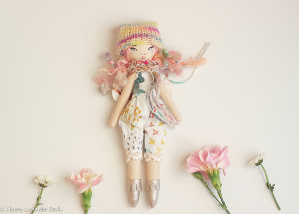 "Petite Heirloom Doll  8"" ish tall  by Liberty Lavender Dolls."