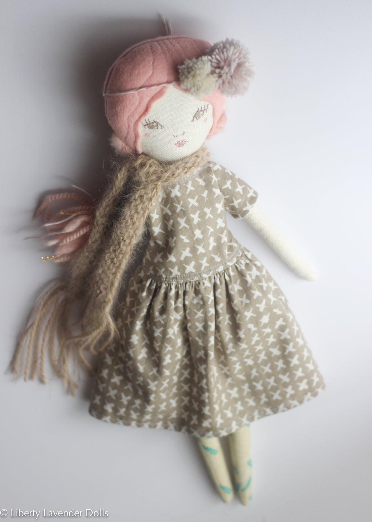 "Reserved - Heirloom Doll 15"" ish tall. Peachy Pink Girl"